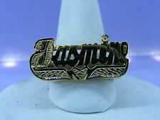 PERSONALIZED 14K GOLD PLATED FLAT NAME RING W/ HREAT ANY NAME UP TO 7 LETTERS