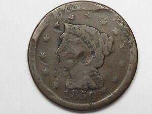 1850 US Braided Hair Large Cent (Damage).  #10