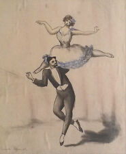 Lucile Blanch (1895-1981)  Ink w/ Watercolor of Dancers, Woodstock Artist
