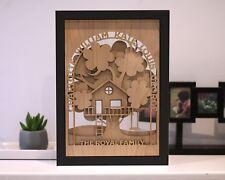 Custom Framed 3D Family Tree in Natural Oak Material Personalised Names