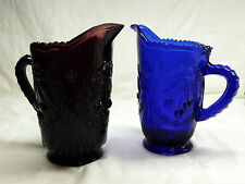 New listing Depression Style Glass Pitcher Cherry Design, Select 1 - Cobalt Blue or Amethyst