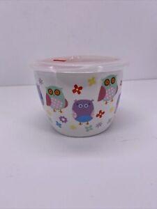 """CIROA Microwaveable Microwave Mug  Bowl Silicone Seal Lid 5 1/2"""" Owls"""