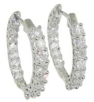 Hoops Earrings InOut 0.90 Carat Natural Diamond SI1 G  14K White Gold 0.60 Inch
