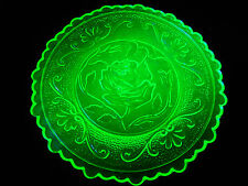 Green Vaseline Rose pattern glass plate uranium jewelry Flower saucer yellow art