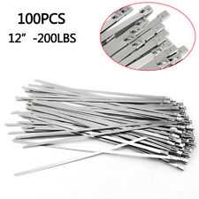 "100pcs 12"" Stainless Steel Metal Cable Zip Tie Self Lock Strap Heavy Duty 200LBS"