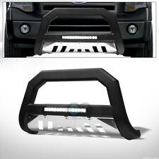 Fit 04-18 Ford F150/Expedition Matte Blk/SS Skid AVT Aluminum LED Light Bull Bar