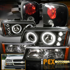 For [Step-Side] CHEVY Silverado Halo Projector LED Black Headlights + Tail Light
