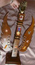 Quille militaire Bois sculpté + insignes & décorations Base aérienne 125 ISTRES