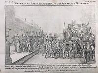 Louis 16 Retour de Varennes en 1792 Paris Gravure ancienne Révolution Française