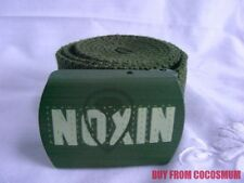 "New NIXON Army Green Cotton Belt Adjustable Up to 40"" FREE SHIPPING Logo Buckle"