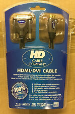 HD CABLE COMPANY HDMI DVI CABLE HDTV AV - 24K HARD GOLD - TELEVISION LEAD DVD