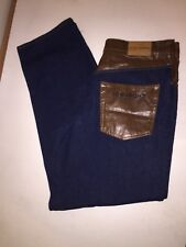 """Ice Jeans Gilmar Iceberg Jeans w/ Faux Leather Mens Size 36"""" X 35"""" Made In Italy"""