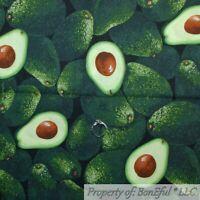 BonEful Fabric FQ Cotton Quilt Green Vegetable Fruit Avocado Food Farm Kitchen L