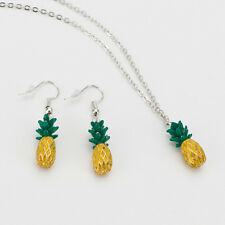 Clever Yellow Pineapple Fruit Pendant Earrings Necklace Girls Kids Jewelry Set