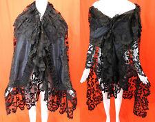 Victorian Antique Black Limerick Lace Embroidered Net Silk Shawl Stole Cape Vtg