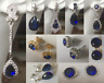 b Blue sapphire & sim diamond stud & dangle drop gold gf earrings Plum UK BOXED