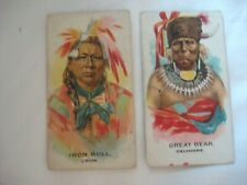 2 x BRITISH AMERICAN TOBBACCO CARDS - INDIAN CHIEFS SERIES - DATE 1930s.