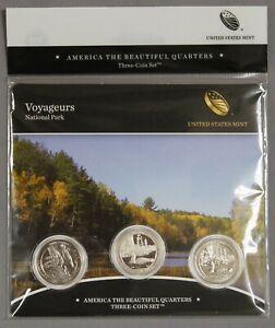 2018 P D S 25C US MINT ATB Voyageurs Quarter UNC & Proof 3 Coin Set
