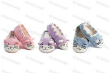 Girls Novelty Cat Slippers Childrens Kids Slipper Gripper Socks Pink-Lilac-Blue