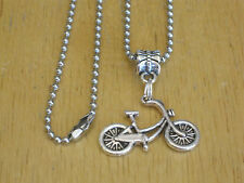 Bike Rider/Bicycle/Cyclist/Cycling Silver-Tone Pendant/Charm Necklace Men's+