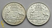 1942-43 Australia Florin Silver Coin Lot of 2 KM# 40