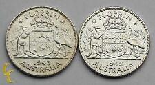 1942-43 Australia Florin Silver Coin Lot of 2 KM# 40