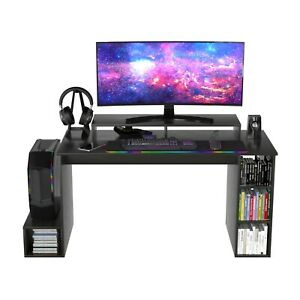 140CM GAMING DESK WITH SHELVES HOME OFFICE RACER COMPUTER PC TABLE - BLACK(7592)
