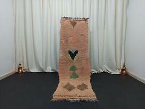 """Berber Vintage Handmade Runner Moroccan Rug 2'3 x 7'4"""" Tribal Floral Wool Rug"""