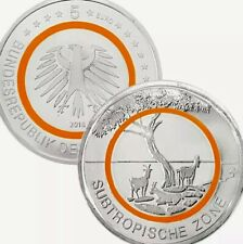More details for germany coin 5€ euro let.f sub-tropical 2018 polimer ring unc goat eagle animal
