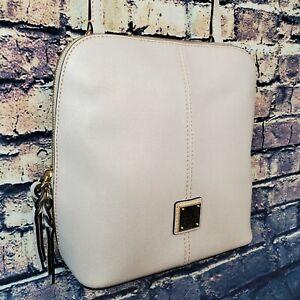 Dooney & Bourke Large Trixie Crossgrain Leather Crossbody Bag Beige Gold