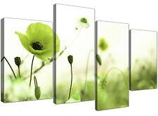 GRANDE Lime Verde Poppy Field-Floreale Tela Multi 4 pannello di larghezza 130cm