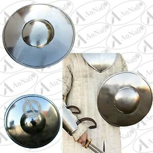 Iron Buckler Shield Roman Medieval Larp Battle Training w/ Fitted Wooden Handle