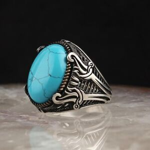 SOLID 925 STERLING SILVER MENS JEWELRY BLUE TURQUOISE MENS RING