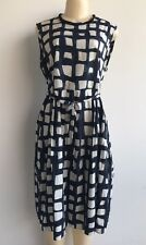 NWT $665.00 S' Max Mara Africa Azure Squares Printed Cotton Dress Sz 14