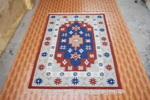 Afghan Kilim  Area Rug Reversible Mat Hand-woven Rust Color Southwestern 4x6 ft