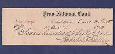 1895 CHECK FROM PENN NATIONAL BANK, PHILADELPHIA, PA