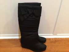 KATE SPADE Black Cagney Satin Bow Boots Sz 9 Winter Wedge