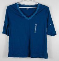 St. John's Bay Women's XL Greenish Blue Blouse Short Sleeve V Neck Career Casual
