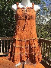 New_Peasant_Boho_Sandy Brown Crinkle Cotton Dress_Crochet & Lace Trim_Sizes M, L