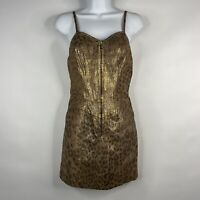 Vtg 80s John Michael Gold Black Leopard Painted Suede Leather Mini Dress Size 4