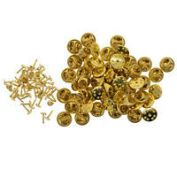 50 Sets Brass Badge Hat Pins Metal Tie Back Lapel Butterfly Clasps Fasteners