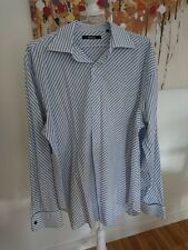 Moto white with blue stripes / striped shirt Size L / XL fitted