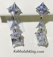 Platinum Sterling Silver White Sapphire Princess Trillion Chandelier Earrings