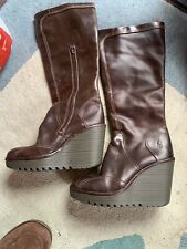 Fly London Knee High Brown Learher Wedge Boots. Size 6.5 (40)