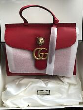 New Gucci GG Marmont Top Handle Red Leather Satchel  HandBag