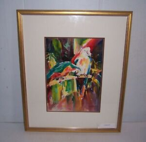 Framed Parrots Watercolor Painting by Alice San Pietro