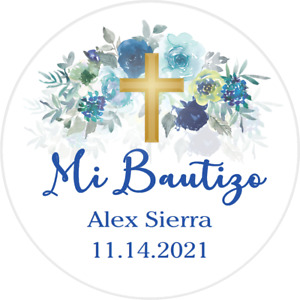 "BLUE GREEN WHITE ""MI BAUTIZO"" PARTY ROUND STICKERS FAVORS LABELS PERSONALIZED"
