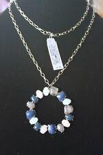 Dillards Brand Pendant Necklace Silver Colored Chain Multiple Stone Pendant