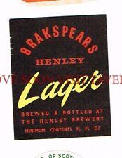 England Henley Brakspears Lager Beer Label Tavern Trove