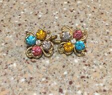 Multi Color Cufflinks Tuxedo Studs Buttons Glass Rhinestones Gold tone Clover